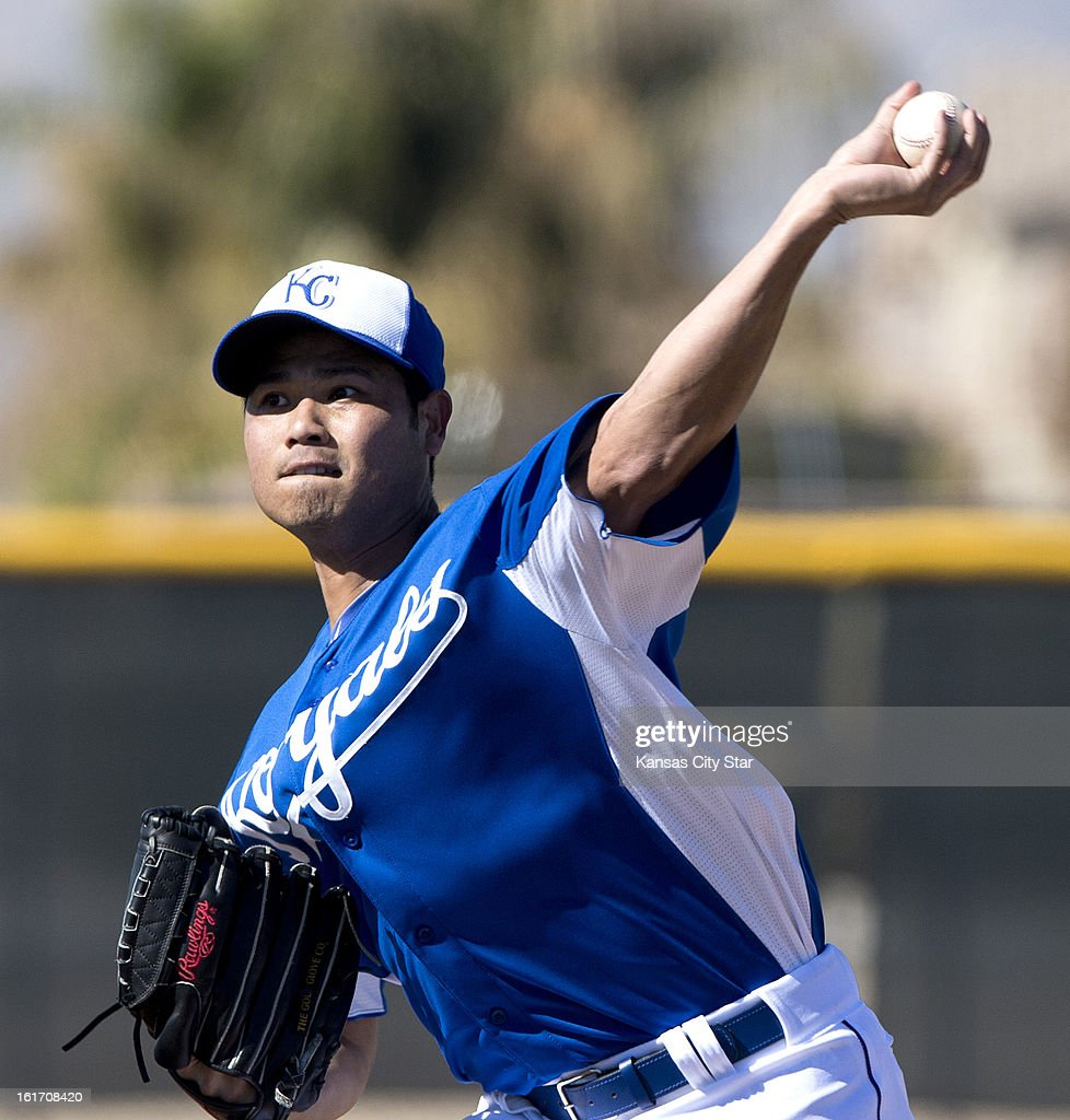 Kansas City Royals pitcher Bruce Chen throws during spring training on Thursday, February 14, 2013, in Surprise, Arizona.