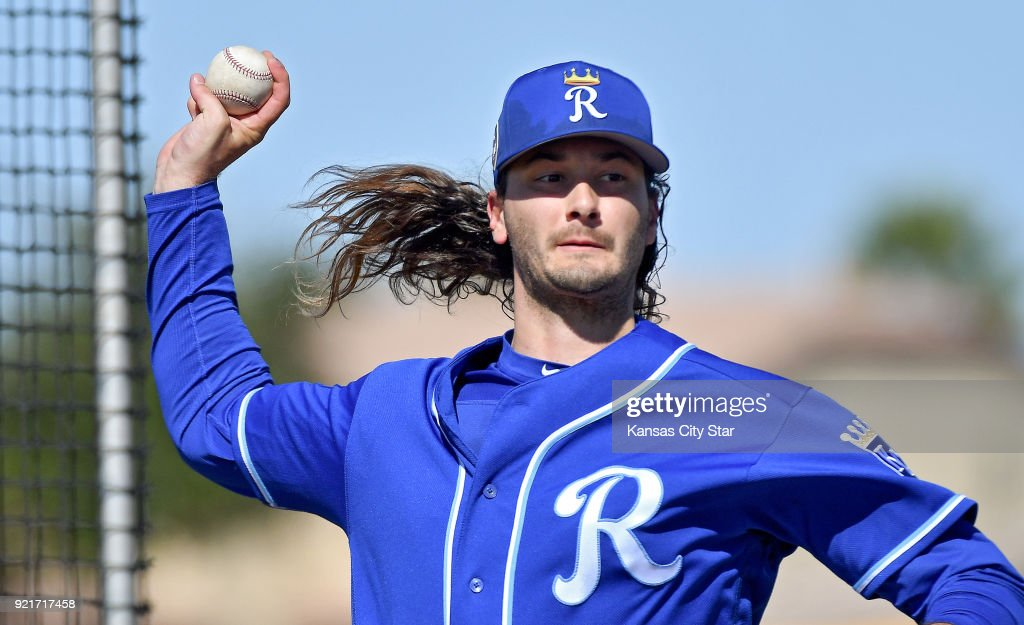 Kansas City Royals pitcher Burch Smith throws during a spring training workout on Tuesday, Feb. 20, 2018, in Surprise, Ariz.