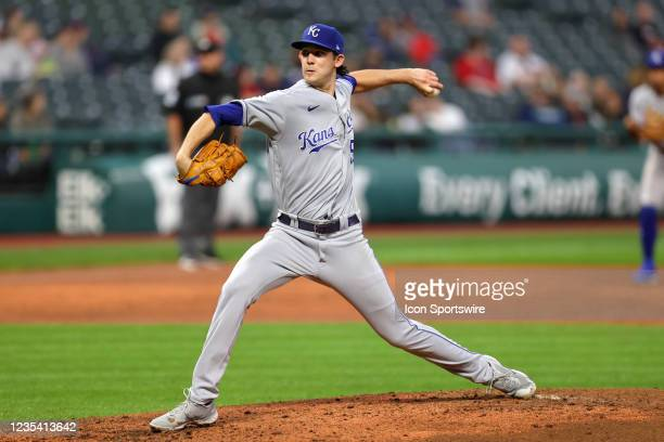 Kansas City Royals pitcher Daniel Lynch delivers a pitch to the plate during the third inning of the the Major League Baseball game between the...