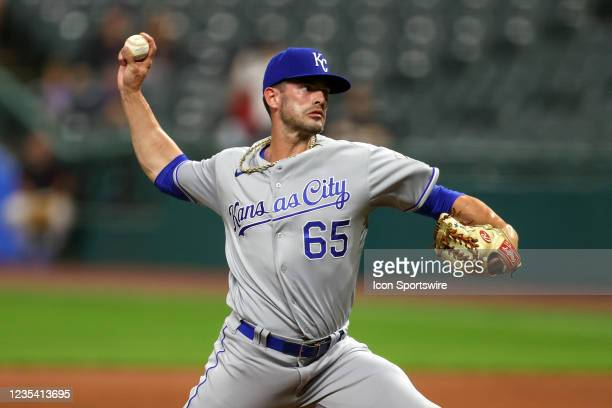 Kansas City Royals pitcher Dylan Coleman, making his major league debut, delivers a pitch to the plate during the seventh inning of the the Major...