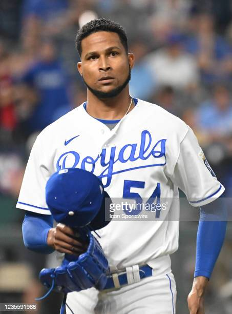 Kansas City Royals pitcher Ervin Santana comes off Sheffield after pitching in the first inning during a Major League Baseball game between the...