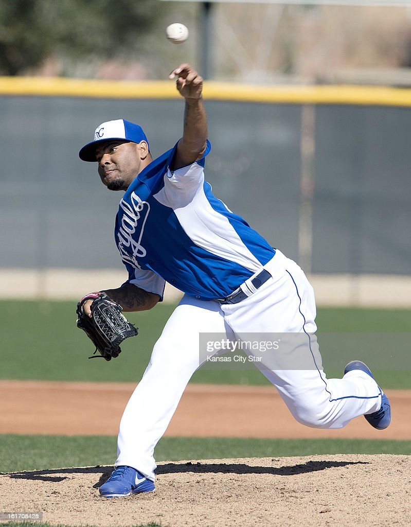 Kansas City Royals pitcher Francisley Bueno throws during spring training on Thursday, February 14, 2013, in Surprise, Arizona.