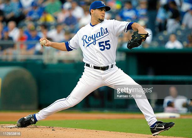 Kansas City Royals pitcher Gil Meche throws in the first inning against the Cleveland Indians at Kauffman Stadium in Kansas City Missouri on Saturday...