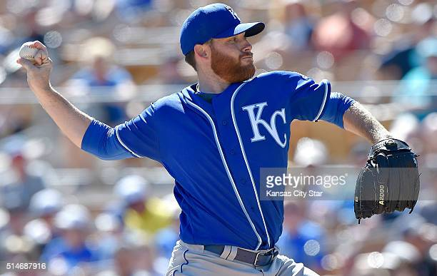 Kansas City Royals pitcher Ian Kennedy throws in the third inning against the Chicago White Sox in spring training action on Thursday March 10 in...