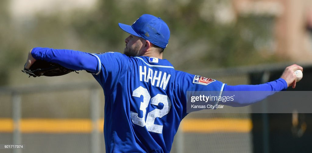 Kansas City Royals pitcher Jesse Hahn throws during a spring training workout on Tuesday, Feb. 20, 2018, in Surprise, Ariz.