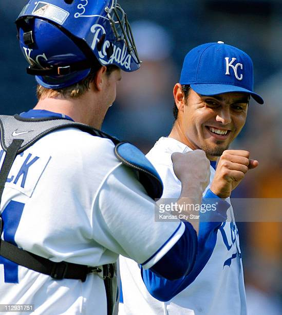 Kansas City Royals pitcher Joakim Soria smiled as he celebrated with catcher John Buck after the Royals' 30 victory over the Chicago White Sox at...