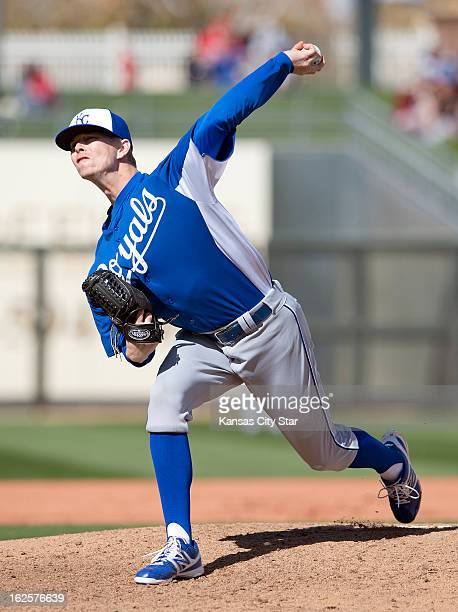 Kansas City Royals pitcher John Lamb throws during a spring training game against the Texas Rangers in Surprise Arizona Sunday February 24 2013 The...