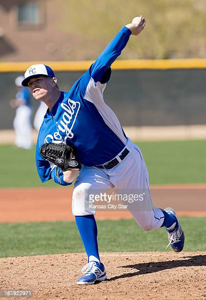 Kansas City Royals pitcher John Lamb throws from the mound during a spring training workout in Surprise Arizona Sunday February 17 2013