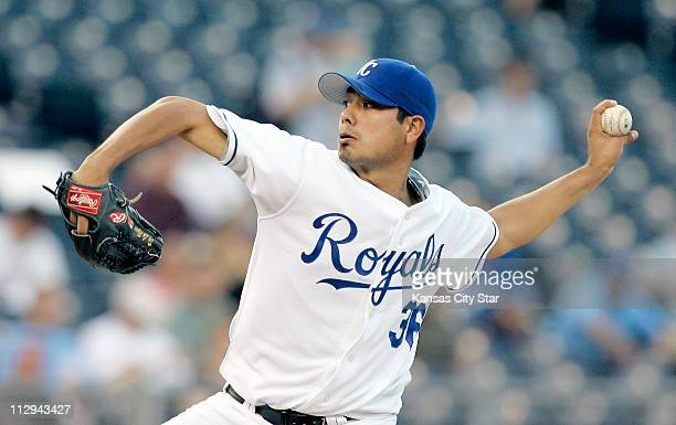 Kansas City Royals pitcher Jorge De La Rosa throws in the first inning during their game against the Cleveland Indians at Kauffman Stadium in Kansas...