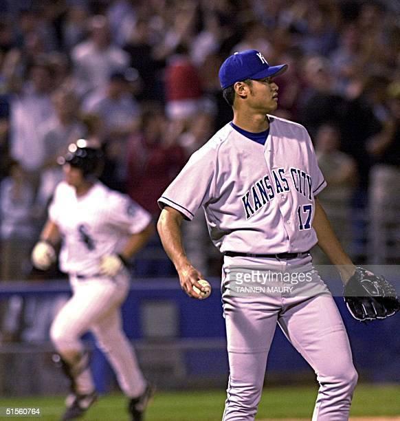 Kansas City Royals pitcher Mac Suzuki reacts as Chicago White Sox outfielder Magglio Ordonez rounds third after hitting a threerun homer in the...