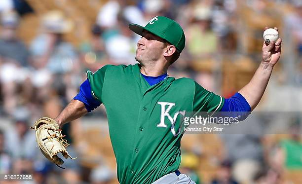 Kansas City Royals pitcher Sam Selman throws in the ninth inning against the Los Angeles Dodgers on Thursday March 17 at Camelback Ranch in Glendale...