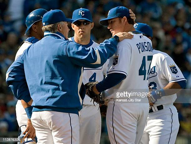 Kansas City Royals pitching coach Bob McClure visits with Royals starter Sidney Ponson in the fourth inning on Friday April 10 for the Royals home...