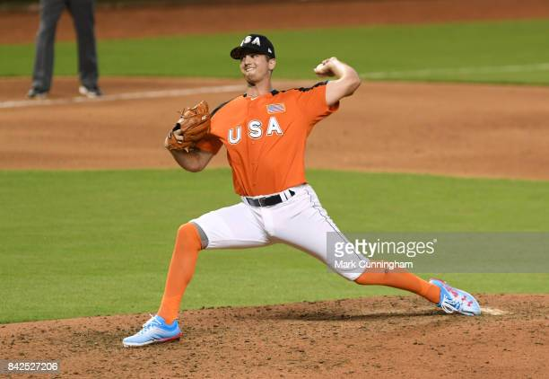 Kansas City Royals prospect Foster Griffin of Team USA pitches during the 2017 SiriusXM AllStar Futures Game at Marlins Park on July 9 2017 in Miami...