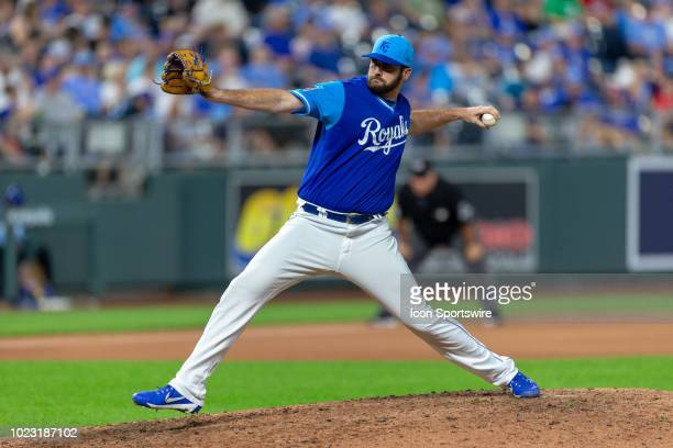 Kansas City Royals relief pitcher Brian Flynn during the MLB game against the Cleveland Indians on August 24 2018 at Kauffman Stadium in Kansas City...