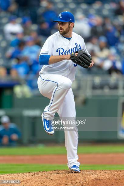 Kansas City Royals relief pitcher Brian Flynn on the mound during the major league opening day game against the Chicago White Sox on March 29 2018 at...