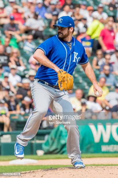 Kansas City Royals relief pitcher Brian Flynn pitches during a game between the Kansas City Royals and the Chicago White Sox on August 19 at...