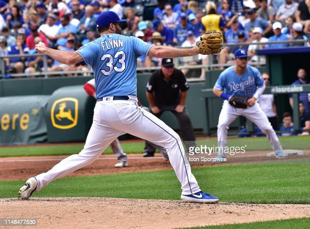 Kansas City Royals relief pitcher Brian Flynn pitches during a Major League Baseball Game between the Boston Redsox and the Kansas City Royals on...