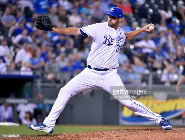 Kansas City Royals relief pitcher Brian Flynn throws in the fourth inning during Monday's baseball game against the Tampa Bay Rays Aug 28 2017 at...