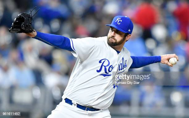 Kansas City Royals relief pitcher Brian Flynn throws in the seventh inning against the Chicago White Sox on Thursday April 26 at Kauffman Stadium in...