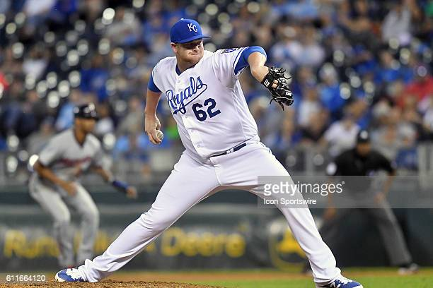 Kansas City Royals relief pitcher Brooks Pounders during a MLB American League Central Division game between the Minnesota Twins and the Kansas City...