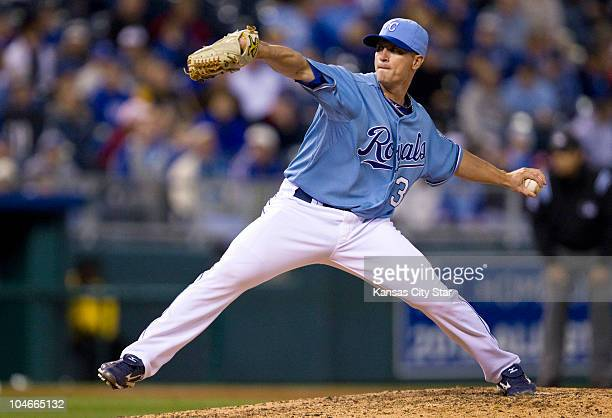 Kansas City Royals relief pitcher Dusty Hughes throws in the 8th inning against the Tampa Bay Rays at Kauffman Stadium in Kansas City Missouri on...