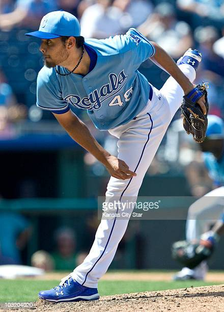 Kansas City Royals relief pitcher Joakim Soria throws a pitch in the ninth inning against the Minnesota Twins Wednesday July 28 at Kauffman Stadium...
