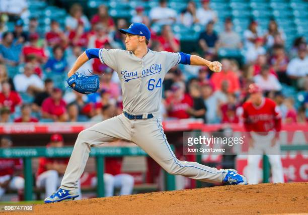 Kansas City Royals relief pitcher Matt Strahm makes his first start of his career during the regular season game between the Los Angeles Angels...