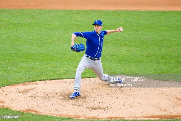 Kansas City Royals relief pitcher Matt Strahm pitches in the bottom of the 7th during the 1st game of a doubleheader between the Kansas City Royals...