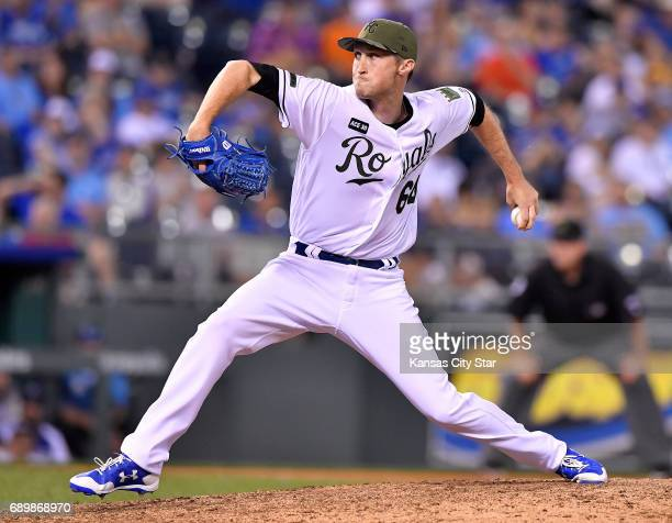 Kansas City Royals relief pitcher Matt Strahm throws in the eighth inning against the Detroit Tigers on Monday May 29 2017 at Kauffman Stadium in...
