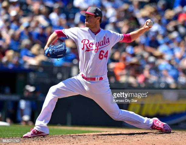 Kansas City Royals relief pitcher Matt Strahm throws in the fifth inning against the Baltimore Orioles on Sunday May 14 2017 at Kauffman Stadium in...