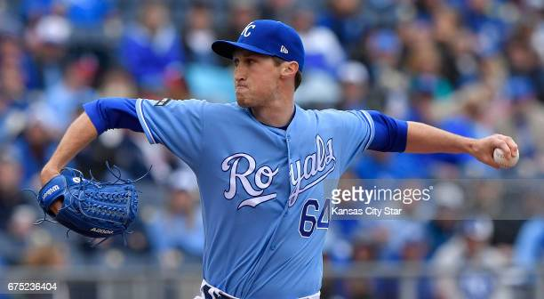 Kansas City Royals relief pitcher Matt Strahm throws in the sixth inning against the Minnesota Twins on Sunday April 30 2017 at Kauffman Stadium in...