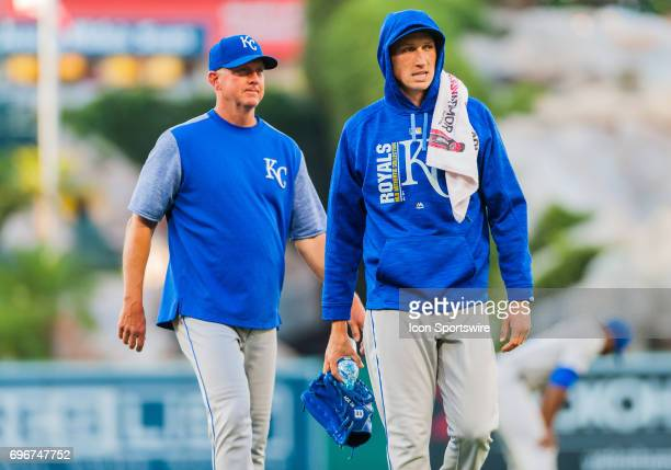Kansas City Royals relief pitcher Matt Strahm walks back to the dugout after warming up prior to the regular season game between the Los Angeles...
