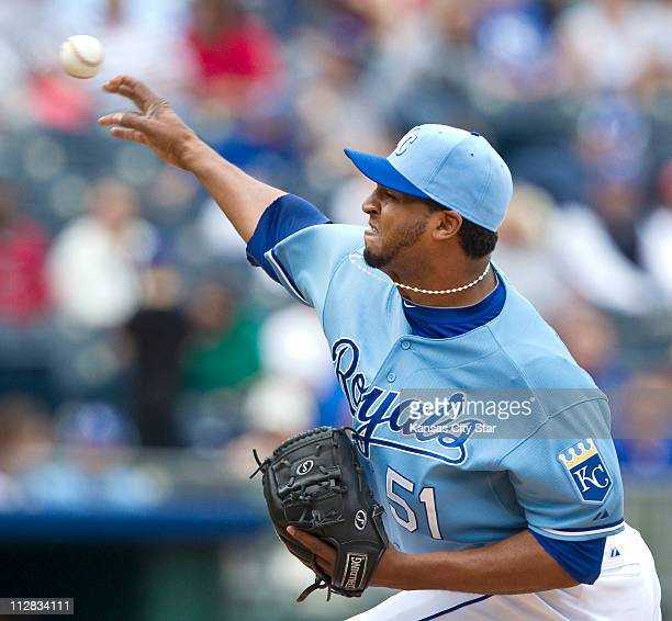 Kansas City Royals relief pitcher Robinson Tejeda throws in the seventh inning against the Cleveland Indians Thursday May 13 at Kauffman Stadium in...
