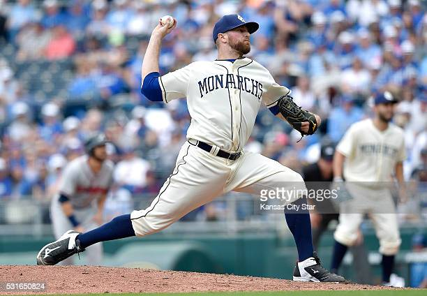 Kansas City Royals relief pitcher Wade Davis throws in the ninth inning during Sunday's baseball game against the Atlanta Braves on May 15 2016 at...