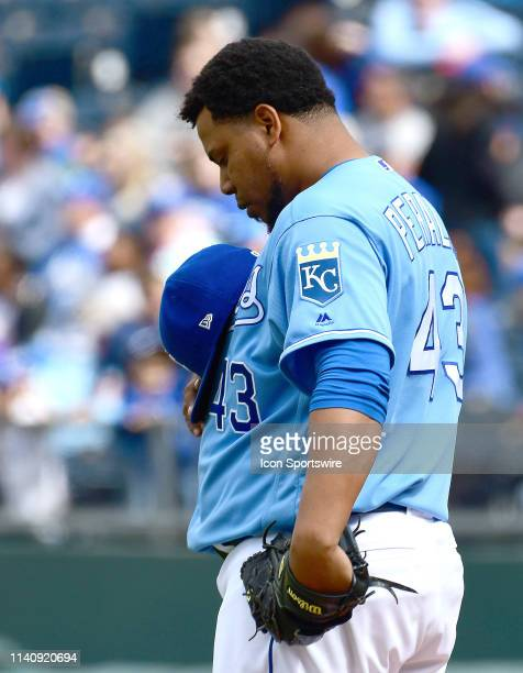 Kansas City Royals relief pitcher Wily Peralta reflects before pitching during a Major League Baseball game between the Tampa Bay Rays and the Kansas...