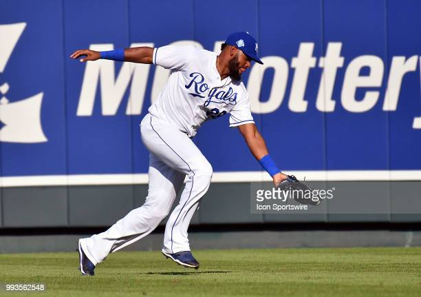 Kansas City Royals right fielder Jorge Bonifacio catches a line drive during a Major League Baseball game between the Boston Red Sox and the Kansas...