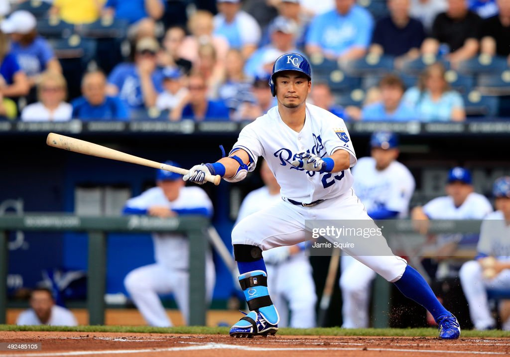 Kansas City Royals right fielder Norichika Aoki #23 bats during the 1st inning of the game against the Chicago White Sox at Kauffman Stadium on May 20, 2014 in Kansas City, Missouri.