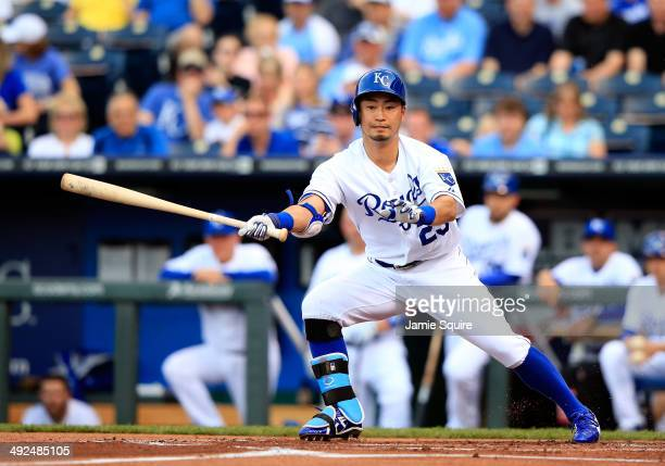 Kansas City Royals right fielder Norichika Aoki bats during the 1st inning of the game against the Chicago White Sox at Kauffman Stadium on May 20...