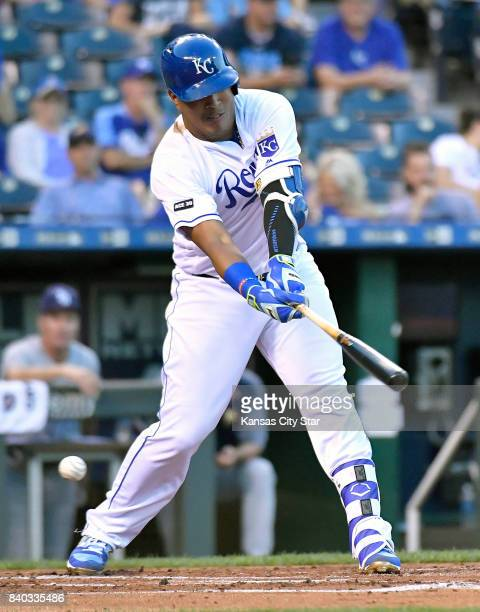 Kansas City Royals' Salvador Perez strikes out in the second inning during Monday's baseball game against the Tampa Bay Rays on Aug 28 2017 at...
