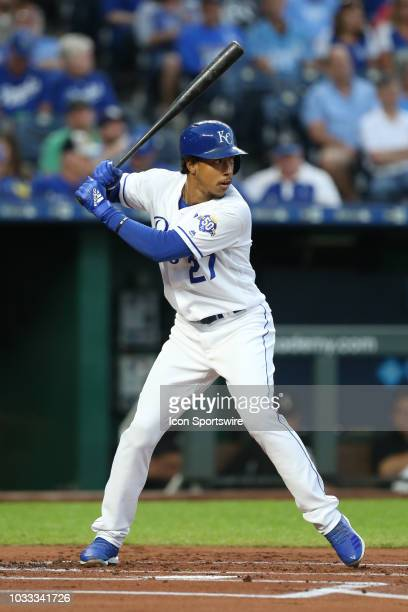 Kansas City Royals second baseman Adalberto Mondesi bats in the first inning of an MLB game between the Chicago White Sox and Kansas City Royals on...