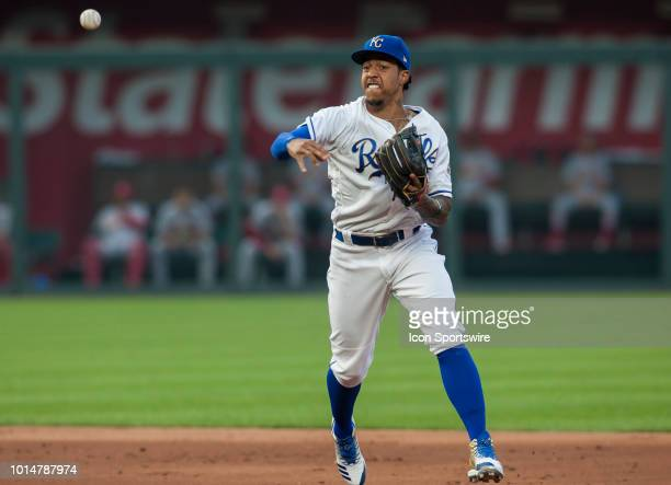 Kansas City Royals second baseman Adalberto Mondesi fires the ball towards first base during the MLB regular season game between the St Louis...