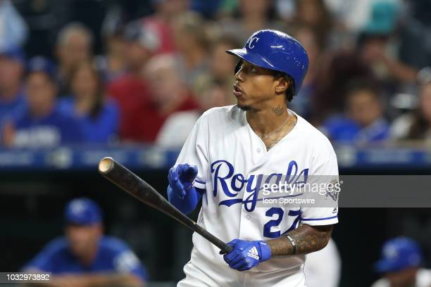 Kansas City Royals second baseman Adalberto Mondesi looks up before batting in the third inning of an MLB game between the Chicago White Sox and...