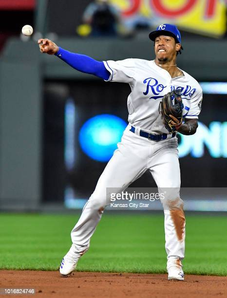 Kansas City Royals second baseman Adalberto Mondesi throws out the Toronto Blue Jays' Devon Travis on a ground out in the third inning on Tuesday Aug...