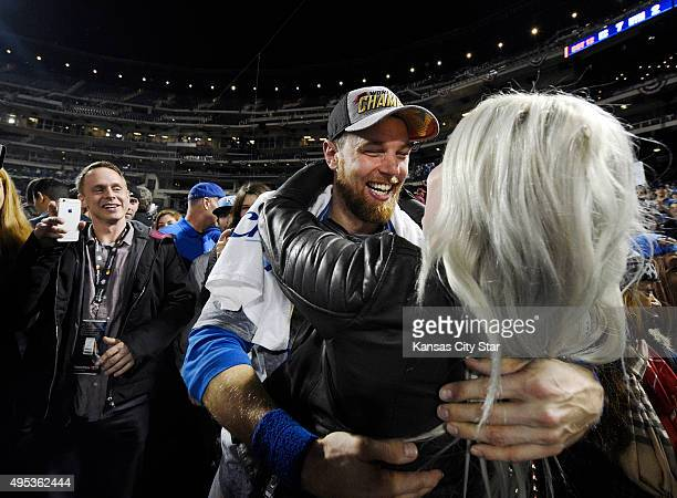 Kansas City Royals second baseman Ben Zobrist hugs his wife after the Royals defeated the New York Mets 72 to win World Series on Sunday Nov 1 2015...