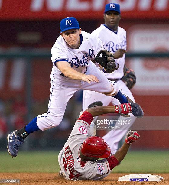 Kansas City Royals second baseman Chris Getz forces out Los Angeles Angels' Howard Kendrick at second base in the fifth inning at Kauffman Stadium in...