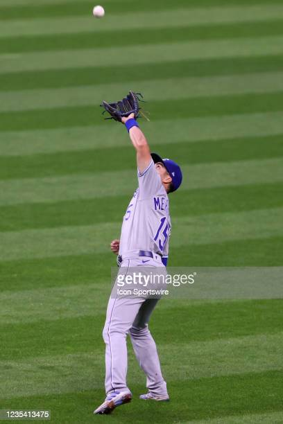 Kansas City Royals second baseman Whit Merrifield makes the catch for an out during the second inning of the the Major League Baseball game between...