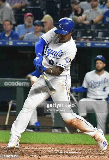 Kansas City Royals shortstop Adalberto Mondesi hits a double in the sixth inning during a MLB game between the Toronto Blue Jays and the Kansas City...