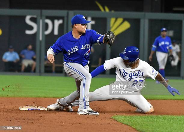 Kansas City Royals shortstop Adalberto Mondesi is safe stealing second during a MLB game between the Toronto Blue Jays and the Kansas City Royals on...