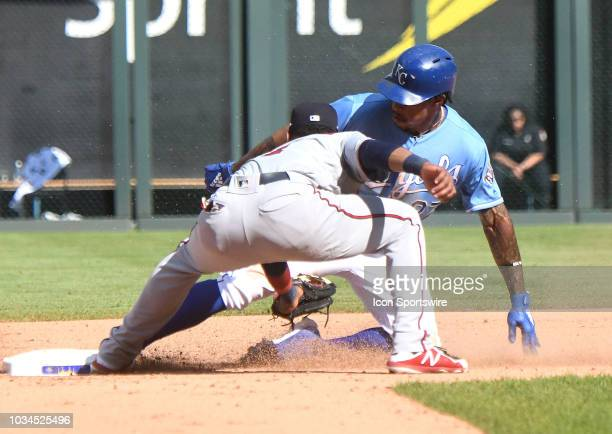 Kansas City Royals shortstop Adalberto Mondesi is safe stealing second during a MLB game between the Minnesota Twins and the Kansas City Royals on...