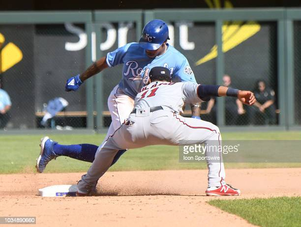 Kansas City Royals shortstop Adalberto Mondesi is safe stealing second in the seventh inning during a MLB game between the Minnesota Twins and the...